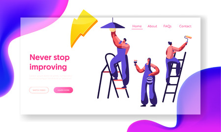 Repair Service Professional Worker Landing Page. Workman on Ladder Change Light Bulb, Paint Wall Brush and Roller . Renovation Team Work in Room Website or Web Page. Flat Cartoon Vector Illustration Vector Illustratie