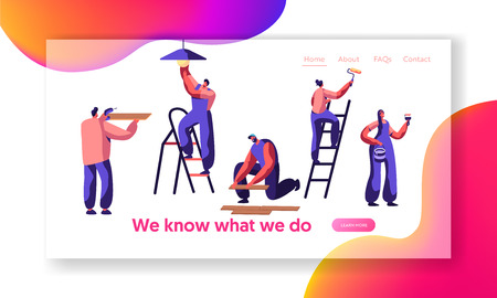 Repair Service Professional Worker Landing Page. Human Change Light Bulb, Paint Wall, Lay Laminate, Keep Hand Drill. Renovation Team Work in Room Website or Web Page. Flat Cartoon Vector Illustration