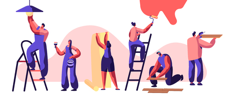 Repair Service Professional Worker. Woman on Ladder Paint Wall Roller in Hand. Human Glues Wallpaper. Man Lay Laminate Floor and Keep Hand Drill. Change Light Bulb. Flat Cartoon Vector Illustration