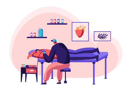 Tattoo Master Make Ink Picture to Man Back in Parlor. Young Professional Tattooist Hold Machine in Hand at Work. Client Lying Table in Studio. Artist Paint Human Body. Flat Cartoon Vector Illustration