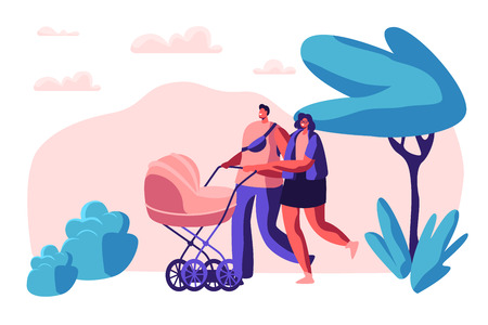 Family Walk with Baby Stroller in Park. Happy Mother and Father Together Walking with Newborn Kid. Parents Spend Leisure Time in Open Air with Child Pram. Flat Cartoon Vector Illustration 일러스트
