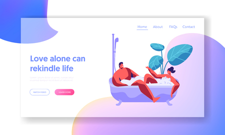Man and Woman Take Bath Together with Bubble Landing Page. Happy Couple Enjoy Romantic Home Time. Two Human Lovers Relaxation in Bathtub. Spa Day Website or Web Page. Flat Cartoon Vector Illustration