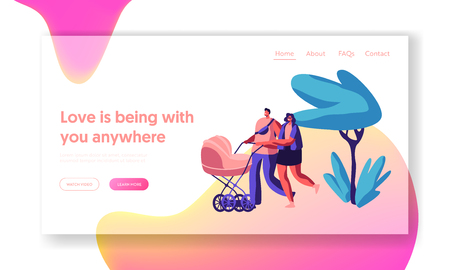 Family Walking with Baby Stroller in Park Landing Page. Parents Spend Time in Open Air with Pram. Happy Mother and Father Walking with Newborn Kid Website or Web Page. Flat Cartoon Vector Illustration