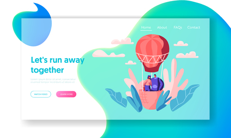 Young Love Couple Fly Air Balloon in Sky Landing Page. Man Woman Enjoy Romantic Together. Happy Lovers Spend Leisure Time in Open Air Website or Web Page. Flat Cartoon Vector Illustration Çizim