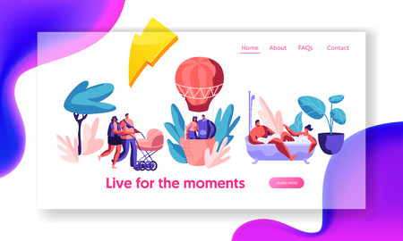 Happy Life Moments Landing Page. Man and Woman Take Bath with Bubble. Love Couple Fly Air Balloon in Sky. Walk Family with Baby Stroller. Website or Web Page. Flat Cartoon Vector Illustration