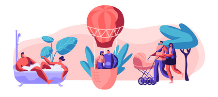 Life for Happy Moment Set. Man and Woman Take Bath Together with Bubble in Bathroom. Young Love Couple Fly Air Balloon in Sky. Walk Family with Baby Stroller in Park. Flat Cartoon Vector Illustration