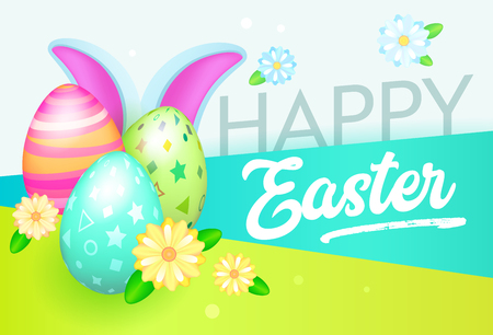 Happy Easter Banner with Eggs and Rabbit. Easter Greeting Card Template with Flowers and Floral Elements. Spring Celebration Design Party Invitation. Vector illustration Illustration