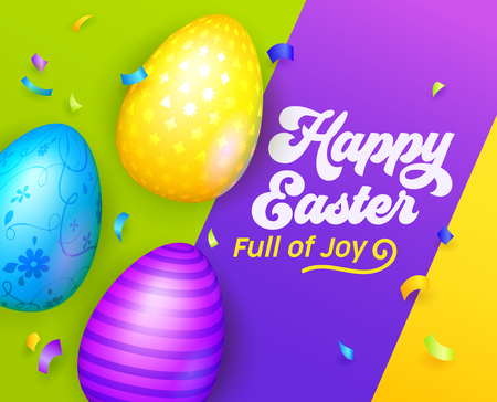 Happy Easter Banner with Colorful Eggs. Easter Greeting Card Template. International Spring Celebration Design Party Invitation, Flyer, Poster. Vector illustration