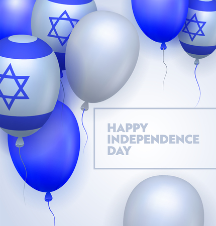 Independence Day Ceremony Typography Banner. Marked by Official Meeting and Observance. Displaying Fireworks and National Symbol. Bible Contest in Jerusalem. Flat Cartoon Vector Illustration