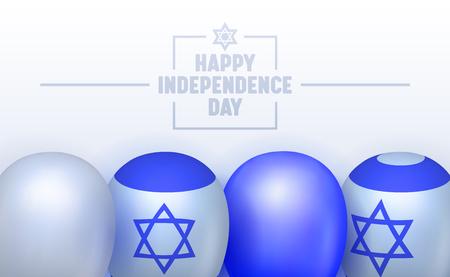 Banner di tipografia per il giorno dell'indipendenza di Israele. Segnato da cerimonia ufficiale e non ufficiale. Incontro di famiglia, fuochi d'artificio e concerto. Illustrazione di vettore del fumetto piatto