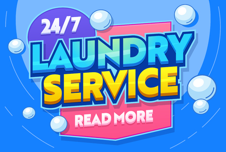 Laundry Service Washing Clothing Textiles Typography Banner. Utility Room for Wash Clothes. Launderette Commercial Establishment. Clean Delicate Fabric. Flat Cartoon Vector Illustration Banque d'images - 121233365