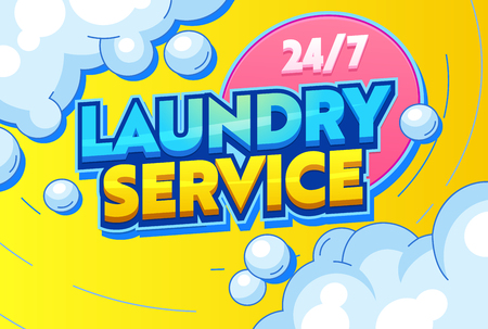 Laundry Service Cleaning Clothing Textiles Typography Banner. Sentence for Customer Agitation, Rinsing, Drying and Ironing. Dry Washing use Chemical Solvent. Flat Cartoon Vector Illustration Foto de archivo - 121233375