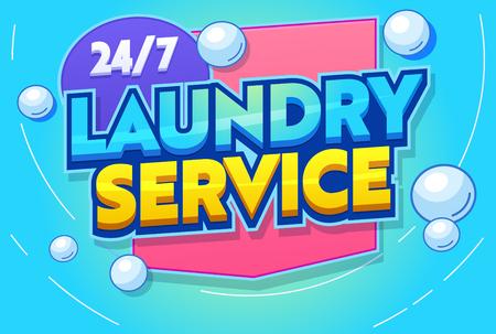 Banner de tipografía de servicio de lavandería profesional. Lavadora moderna Agitación, enjuague, planchado y plegado de ropa. Higiene limpia tela delicada. Ilustración de vector de dibujos animados plana