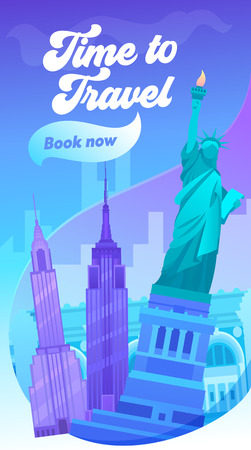 Time to Travel Typography Banner. Visit Big City in United State of America. New York has Sight Like Brooklyn Bridge, Central Park, Times Square and Statue of Liberty. Flat Cartoon Vector Illustration Çizim