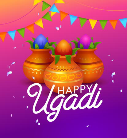 Happy Ugandi Indian Holiday Typography Banner. First Day of the Hindu Lunisolar Calendar. Important Celebration. Kolamulus is Drawing Colorful Patterns. Flat Cartoon Vector Illustration Illustration