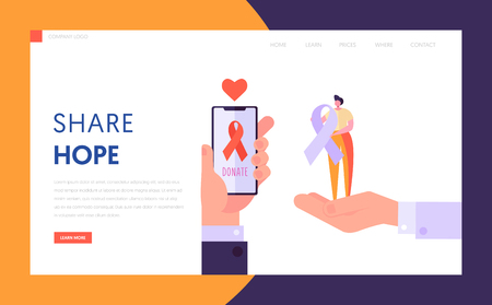 Share Hope Landing Page. Donate Healthy Transplantable Organ and Tissue for Another Character. Save and Protect Life for Unhealthy Website or Web Page. Flat Cartoon Vector Illustration Illustration