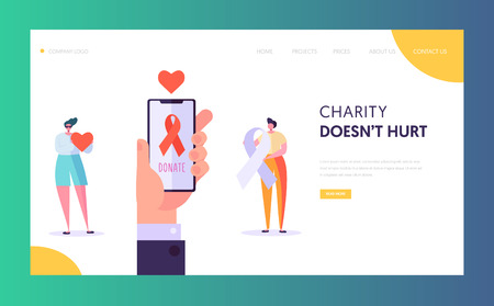 Share Hope Landing Page. Charity Save Life for Character. Candidate Waiting for a Donor Organ and Tissue or Donate Money for Aid Healthcare Website or Web Page. Flat Cartoon Vector Illustration