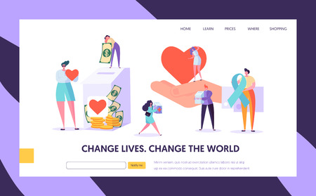 Charity Donation Change the World Landing Page. Give Hope for Needing Help Character and Save Life. Donate Healthy Transplantable Organ or Money Website or Web Page. Flat Cartoon Vector Illustration Çizim