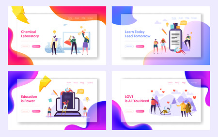 Learn Today Lead Tomorrow Landing Page Set. Chemical Laboratory Research Center. Education is Power for Character. Love Save World Website or Web Page. Flat Cartoon Vector Illustration Illusztráció