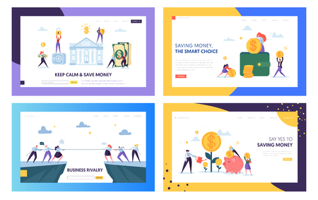 Keep Calm and Save Money Landing Page Set. Smart Choice in Business Rivalry, Earning and Keeping Capital for Company. Secure Cash Website or Web Page. Flat Cartoon Vector Illustration Illustration