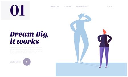 Big Dream Landing Page. Character has Life Goal that Want Doing. Carefully Plan and Stay Focused. Necessary Motivation and Self-discipline Website or Web Page. Flat Cartoon Vector Illustration