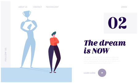 Great Dream Landing Page. Character Imagine Ideal Life. Carefully Plan and Stay Focused. Necessary Motivation and Self-discipline Website or Web Page. Flat Cartoon Vector Illustration