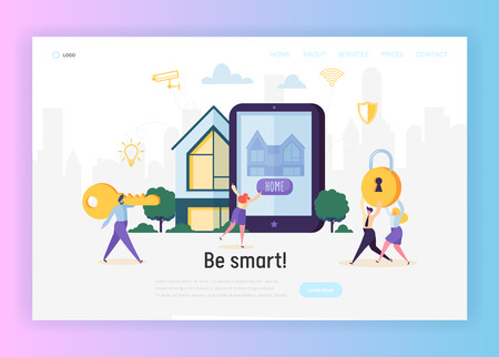 Household Security System Landing Page. Smart House Access Control Central Locking and Remote Surveillance of Camera Computer. Wirelles Connect Website or Web Page. Flat Cartoon Vector Illustration