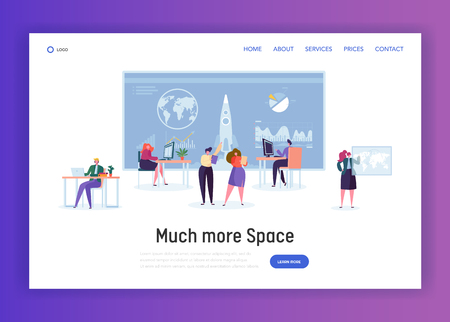 Space Administration Office Landing Page. Character Work on Aeronautics and Aerospace Research. Engineer Construct Rocket for Visit Orbit Website or Web Page. Flat Cartoon Vector Illustration Archivio Fotografico - 121233649