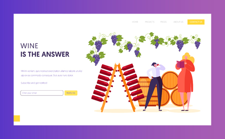 Wine Professional Taster make Examination and Evaluation Landing Page. Sommelier Describe Perceived Flavors, Aromas and General Characteristic Website or Web Page. Flat Cartoon Vector Illustration Illustration