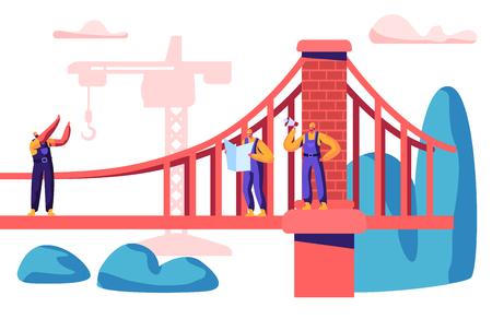 Baumeister und Ingenieur bauen Brücke mit Baukran. Gruppe des Mitarbeiter-Gebäude-Tors mit Ziegelstein. Arbeiter-Projekt-Architektur mit Baumaschinen-flache Karikatur-Vektor-Illustration Vektorgrafik