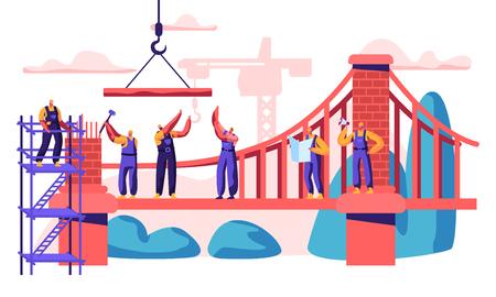 Budowa Most wantowy. Profesjonalna budowa postaci Nowe połączenie dwóch brzegów. Przeanalizuj plan i miejsce, układanie cegieł i mocowanie kabla. Ilustracja wektorowa płaskie kreskówka Ilustracje wektorowe