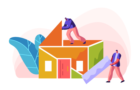 Human Builder Construction Color Home. Man in Process Installation Roof in House. Person Foreman Carry New Part Material for Build Work. Stage Project Building. Flat Cartoon Vector Illustration
