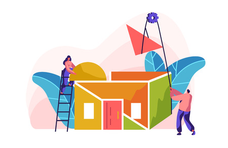 Team Builder Construction New Color Home. Woman on Ladder in Process Installation Roof in House. Man with Help Winch to Lift Up Part Material. Stage Project Building. Flat Cartoon Vector Illustration
