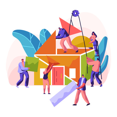 Construction New House. Professional Character Construct Residence. Painting Wall, Laying Brick and Building a Ceiling and Roof from Colorful Detail. Flat Cartoon Vector Illustration