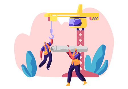 Professional Builder in Uniform in Process Construction. Worker in Hardhat Keep Crane. Service Urban Building. Workman Carry Material for Build Work. Flat Cartoon Vector Illustration Illustration