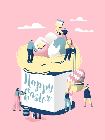 Easter Cake. Character Make Bread for Celebrate Christian Holiday. Decorate with Colorful Egg and Write Wish on the Side of Panettone. Paschal Food. Flat Cartoon Vector Illustration Illustration