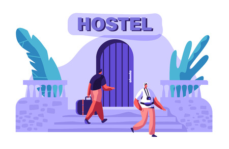 Man Character Arrive at Hostel Building with Bag. International Travel Concept. Tourist with Camera Walking Outside. People Booking Hotel for Holiday Flat Cartoon Vector Illustration