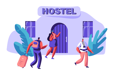 Young Couple in Love Rent Economy Apartment. Man and Woman Character Arrive to Hostel Building with Bag. International Travel Concept. People Booking Hotel for Holiday Flat Cartoon Vector Illustration