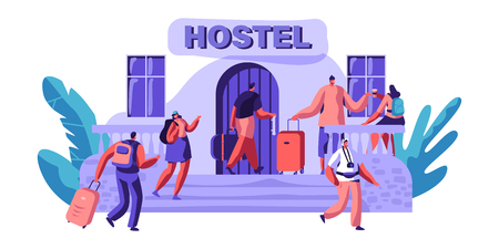 Exterior Hostel for Tourist. Arrival of Character for Visit City. Cheap Place for Living or one Night. Alternative Home for some Day. Room for Relaxation. Flat Cartoon Vector Illustration Illustration
