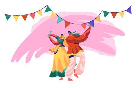 Indian Dancer Performing on National Festival. Man and Woman Dance in Traditional Costume in Exotic India. Young Lady in Sari Dancing on Asian Show Ceremony. Flat Cartoon Vector Illustration