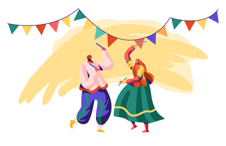 Dancer Man and Woman Dancing on Ceremony. Dance Performance on Indian Festival. Performer in Traditional Asian Clothing. Performing at National Cultural Show. Flat Cartoon Vector Illustration Archivio Fotografico - 121233810