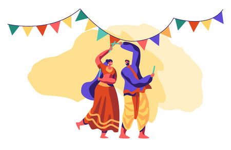 Asian Dance at National Festival in India. Traditional Dancing Show. People Dancer Performing Folk Choreography at Ceremonial Performance. Ethnic Festive Clothing Flat Cartoon Vector Illustration Archivio Fotografico - 121233880
