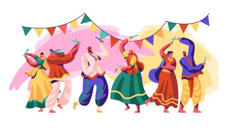 Festival de la India. Celebre el día festivo en el país. El estilo tradicional de danza incluye una fusión refinada y experimental de formas clásicas, folclóricas y occidentales. Ilustración de vector de dibujos animados plana