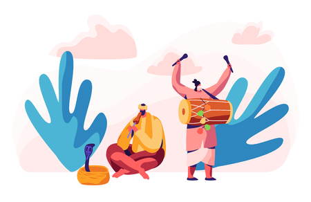Indian Musician Playing Drum Dhol and Flute in Asian Festival. Man Hypnotize Cobra Snake in Basket. Musical Instrument Concert in Asia. Exotic Festive Show. Flat Cartoon Vector Illustration
