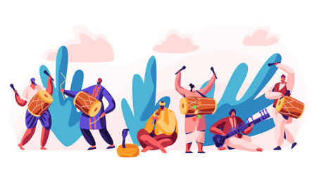 Festival in India. Celebrate Day in Country. Character Play Classical Traditional Music on Dotara, Chitravina and Drummer on Mridangam. Snake Charmer Playing Pungi. Flat Cartoon Vector Illustration Illustration