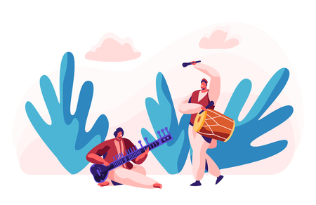 Indian Musician Playing Traditional Musical Instrument Dhol and Sitar at Classical Concert. Performer Play Drum at Instrumental Music Show. Asian National Ceremony. Flat Cartoon Vector Illustration