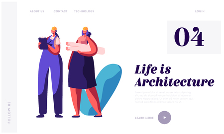 Architect and Builder Working on Project Construction Landing Page. Woman Engineer Projecting Building Plan. Engineering Architecture Sketch Website or Web Page. Flat Cartoon Vector Illustration 向量圖像