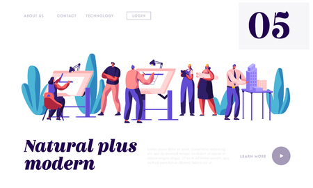 Architect People Projecting Construction Plan Landing Page. Engineer Working on Building Project on Architecture Board. Drawing Person in Office Website or Web Page. Flat Cartoon Vector Illustration Stock Illustratie