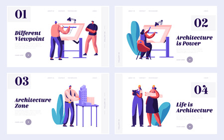 Architect Worker Engineering Construction Plan Set Landing Page. Engineer Group Work Building Project on Board. Man and Woman Drawing Architecture Website or Web Page. Flat Cartoon Vector Illustration