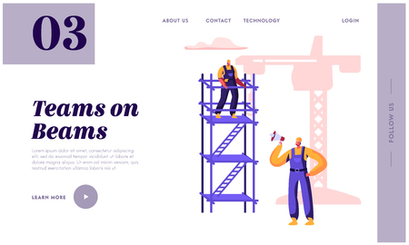 Builder Employee Building with Construction Crane Landing Page. Worker Team in Helmet Build Object Standing on Ladder. Architect Work on Project Website or Web Page. Flat Cartoon Vector Illustration